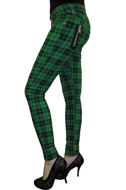Banned Check Skinny Jeans Green  TBN405-G