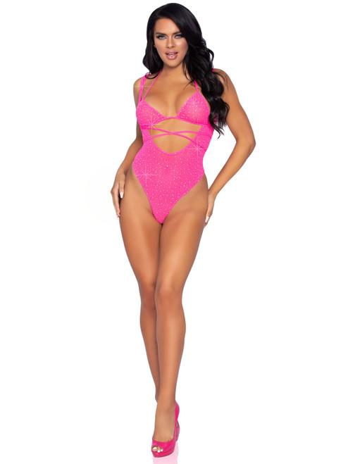 Leg Avenue Pink 2PC Rhinestone Wrap Around Bikini Top and Suspender Bodysuit LA-89284-P