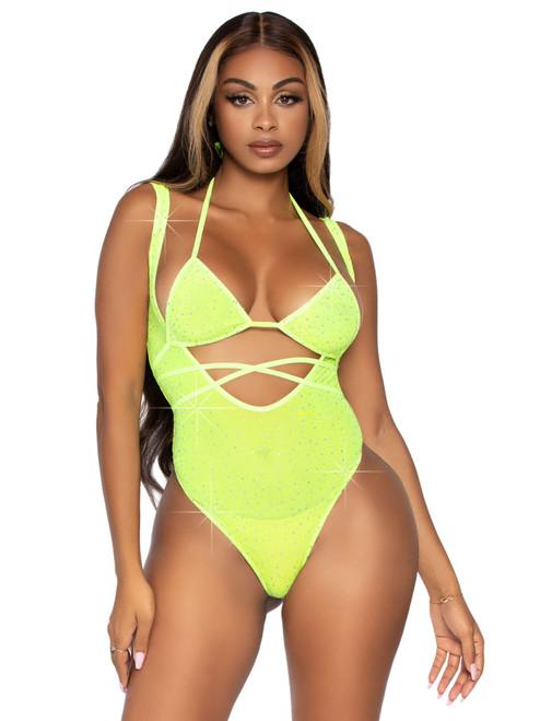 Leg Avenue Neon Green 2PC Rhinestone Wrap Around Bikini Top and Suspender Bodysuit  LA-89284-NG
