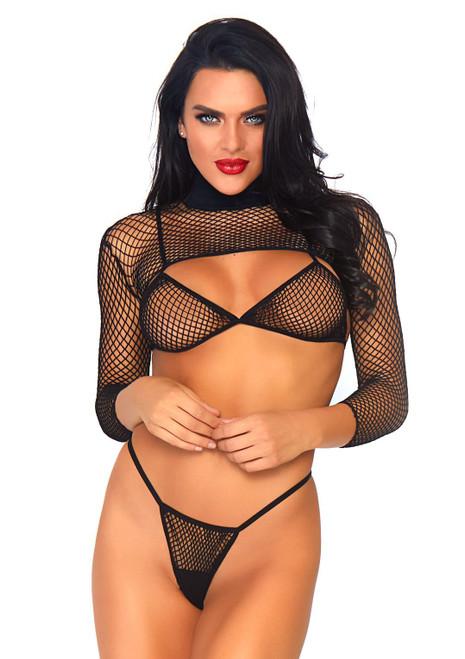 Leg Avenue Black Fishnet Long-Sleeve Bikini Set  LA-81583-BLK