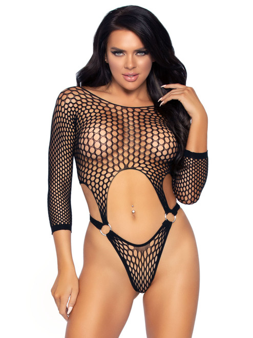 Leg Avenue Long Sleeve Suspender Top Bodysuit  LA-89289