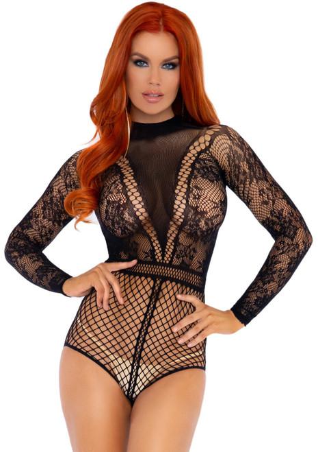 Leg Avenue Lace & Fishnet Bodysuit  LA-89243