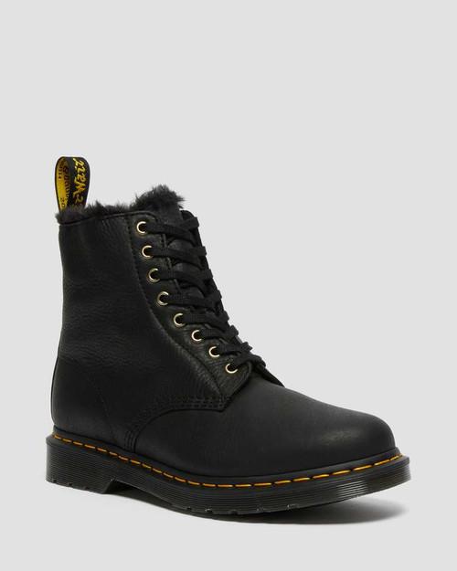 Dr. Martens 1460 Pascal Faux Fur Lined Lace Up Black Ambassador Boots  DR-25533001