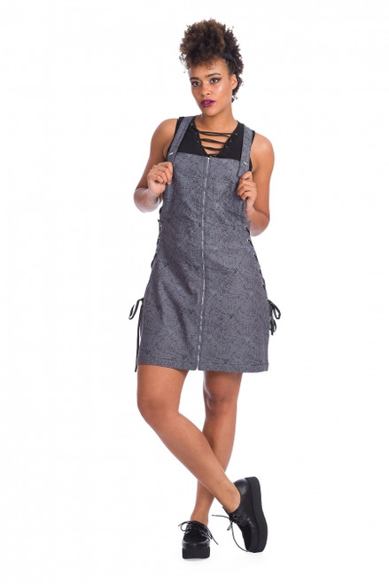 Banned Creepy Spider Dungaree Dress  DR16448