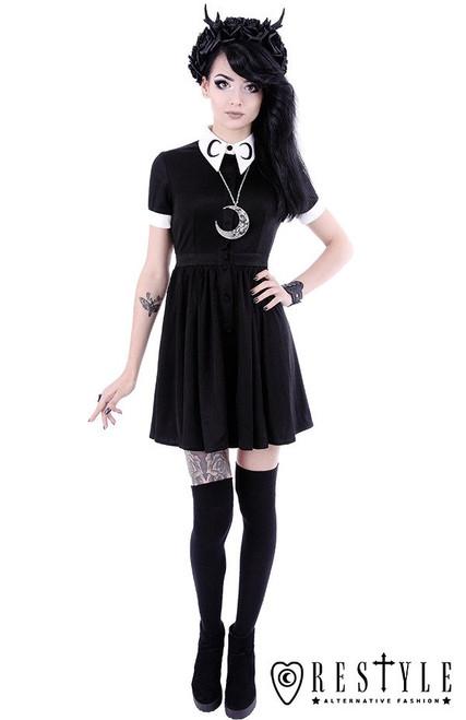 "White collar with moon symbol, circle, gothic dress ""MOON DRESS"""