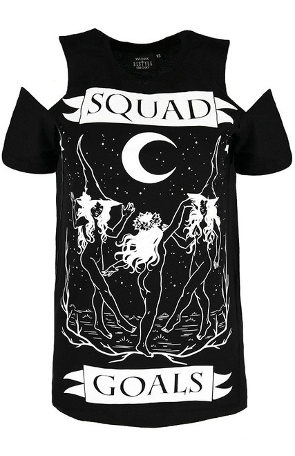Restyle Squad Goals Cold Shoulder T-shirt  RST-T-SQUAD