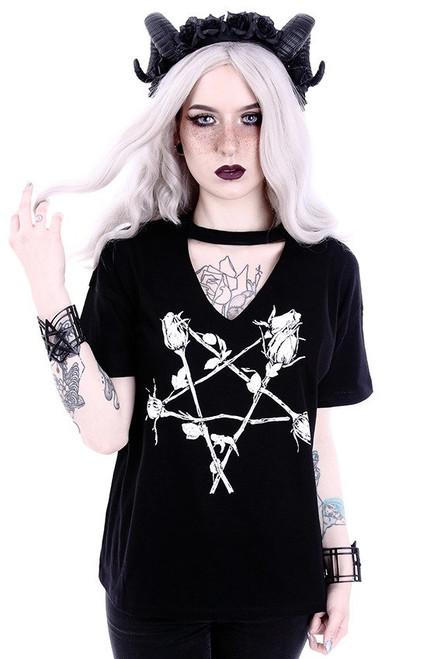Restyle Rose Pentagram V-neck T-Shirt  RST-T-ROSE