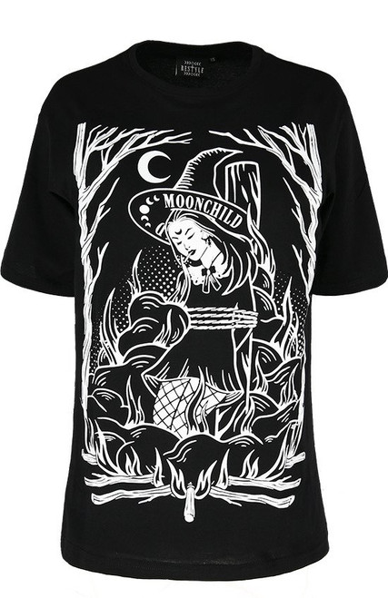 Restyle Burn The Witch Oversized T-Shirt  RST-T-BURN