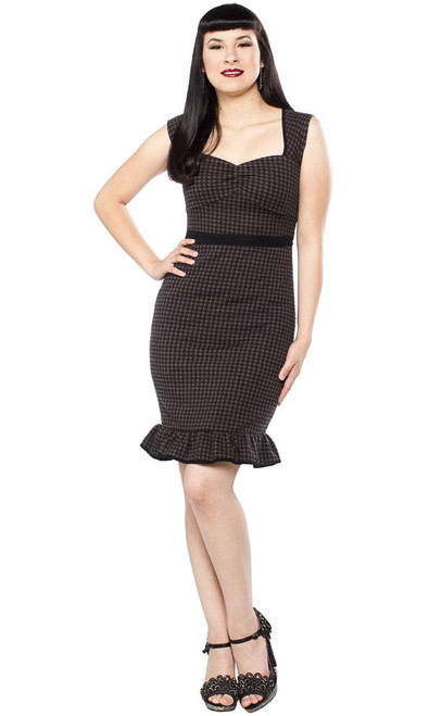 Sourpuss Dark Houndstooth Wiggle Dress SP-DR-145