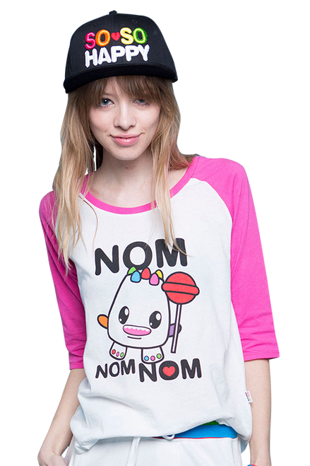 So So Happy Nom Nom Raglan Tee IFL-LIC-2061