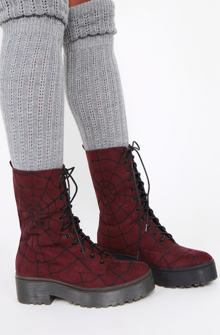 Iron Fist Walking In My Web Heavy Sole Boot Burgundy