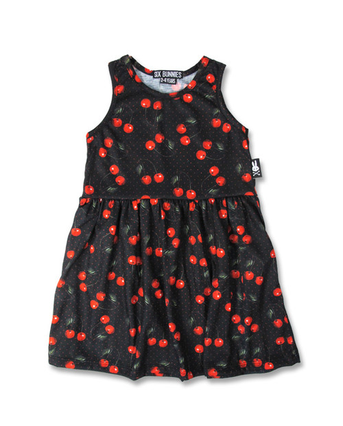 Six Bunnies Cherries Black Kid's Dress  SB-KDR-010