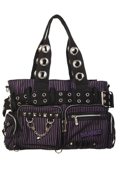 Banned Handcuff Handbag Black / Purple (BBN-754-BLK-PUR)
