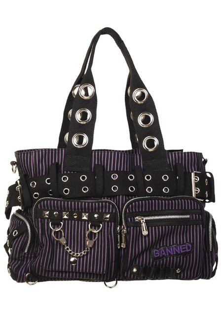 Banned Handcuff Handbag Black / Purple