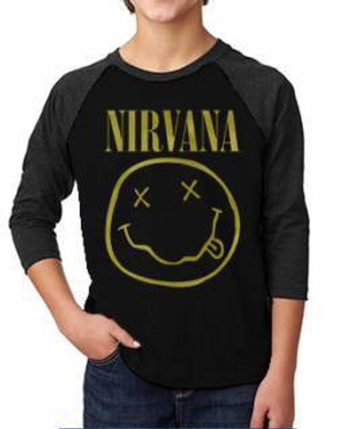 Nirvana Smilie Logo Kids Raglan Tee