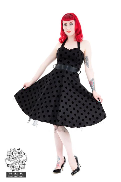 H&R London Black Black Flocked Polka Dot Swing Dress