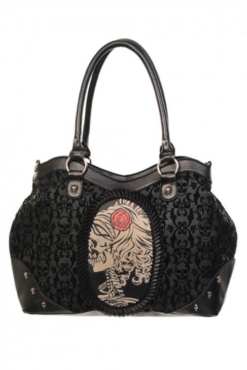 Banned Flocked Cameo Lady Rose Handbag  BBN-757