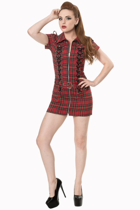Banned Mod Tartan Dress  DR-5208-TR