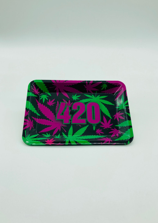 420 Purple & Green with Leafs Rolling Tray  RT-002