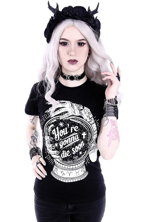 """Gothic t-shirt with a magic ball """"You're gonna die soon"""" RST-T-YGDS"""