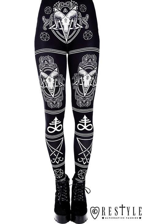 "Black gothic leggings with Ram skull and pentagram ""SATANIC LEGGINGS"" RST-L-SATANIC"
