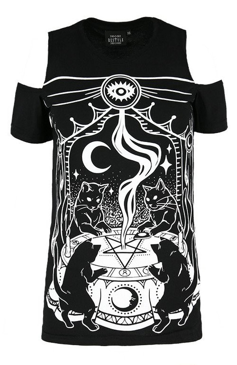 Restyle Cat Sabbath Cold Shoulder T-shirt  RST-T-CATSAB
