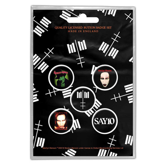 Marilyn Manson Cross Logo Button Badge Pack