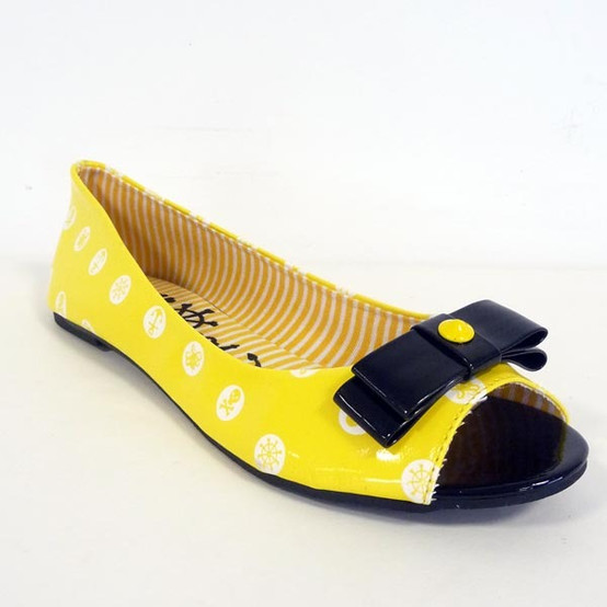 Polka Party Peep Toe Flat IFL-0715