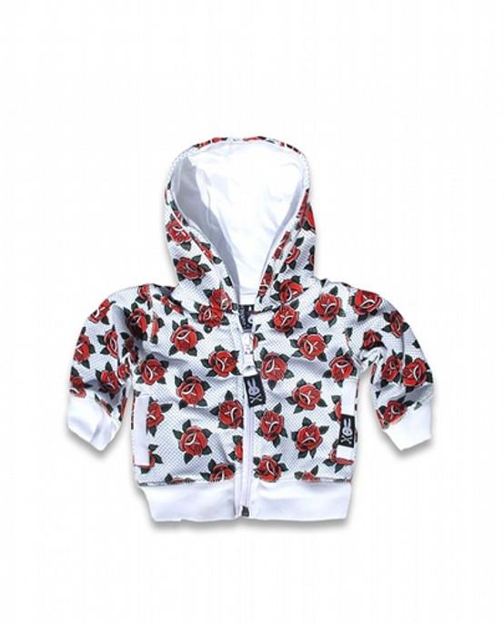 Six Bunnies Roses Baby Hoodie  SB-BHD-00004-WHT