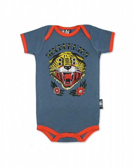 Six Bunnies Little Tiger Baby Romper  SB-ROP-00141-GRY/SCA