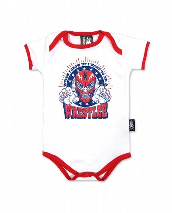 Six Bunnies Wrestler Baby Romper  SB-ROP-00063-WHTRED