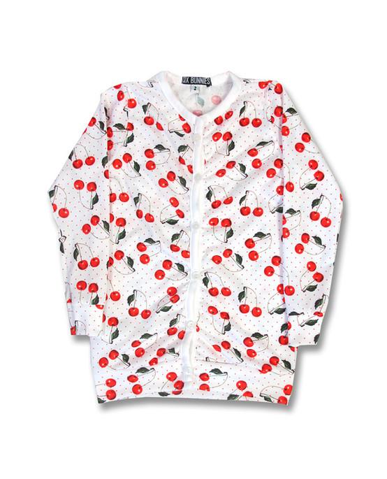 Six Bunnies Cherry White Kids Cardigan  SB-CAR-00001-NCL