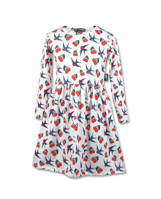 Six Bunnies Cherry Long Sleeve Kid's Dress  SB-KDR-LS-CHERRY