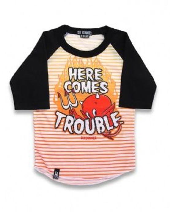 Six Bunnies Here Comes Trouble Kid's Raglan  SB-KRS-TROUBLE