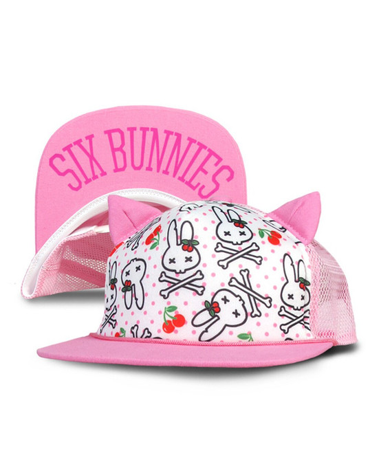 Six Bunnies Cherries Pink Kid's Cap  SB-CAP-039