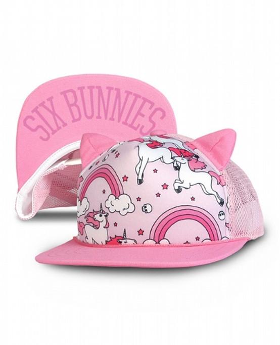 Six Bunnies Rainbows Pink Kid's Cap  SB-CAP-062