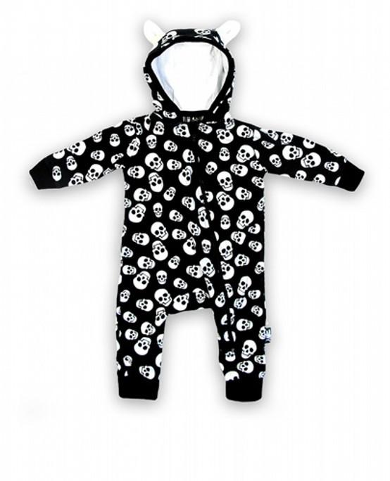 Six Bunnies Polka Skulls Baby Onesie  SB-PSH-019