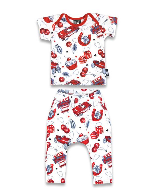 Six Bunnies Cherry Garage Baby Pyjama Set  SB-PJM-00007