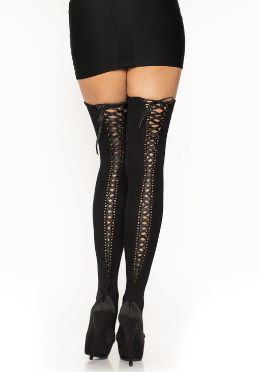 Leg Avenue Opaque Thigh Highs With Lace Up Back  LA-6289