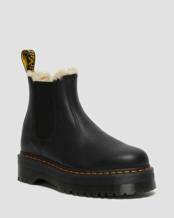 Dr. Martens 2976 Faux Fur Lined Plateform Chelsea Boots Black Pisa  DR-25635001