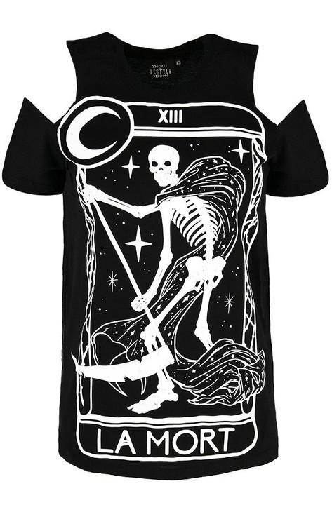 Restyle La Mort Tarrot Cold Shoulder T-Shirt  RST-T-MORT