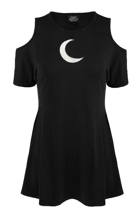 Restyle Crescent Moon Oversized Cold Shoulder Dress RST-DR-CRES