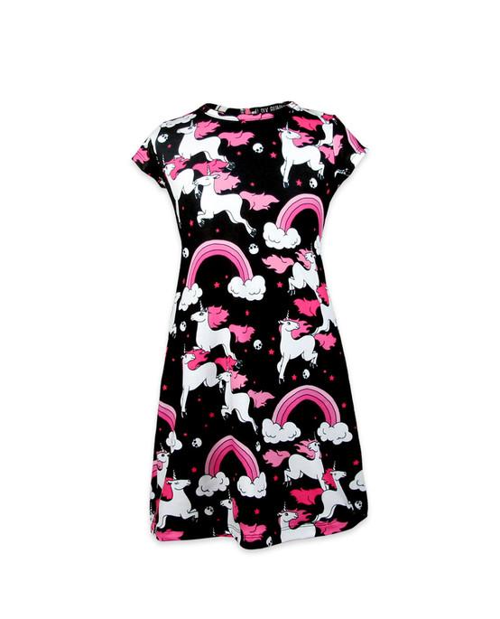 Six Bunnies Rainbow Short Sleeve Kid's Dress  SB-KDR-00038