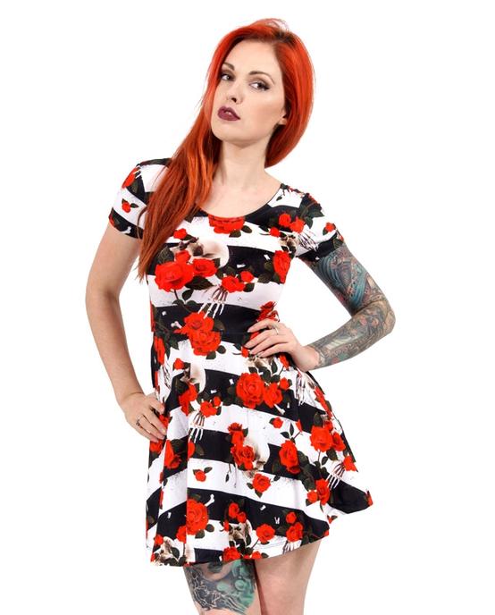 Liquorbrand Skull 'N' Roses Skater Dress  DRESS-027