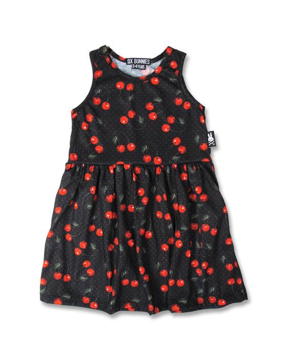 Six Bunnies Cherries Black Kid's Dress  SB-KDR-010