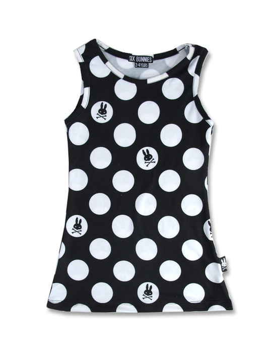 Six Bunnies Polka Dot Black Kid's Dress  SB-KDR-026