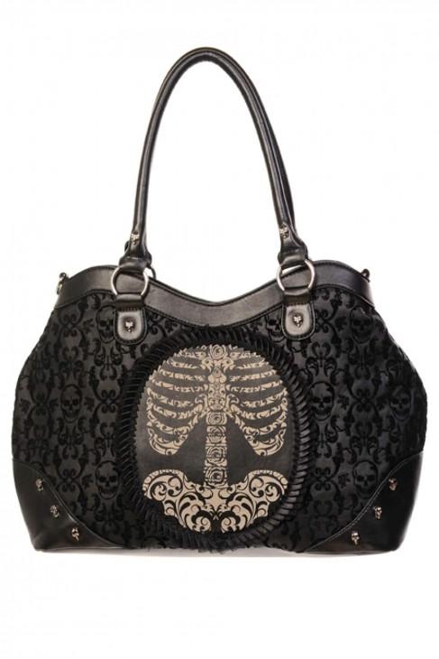 Banned Black Flocked Cameo Ribcage Handbag  BBN-758