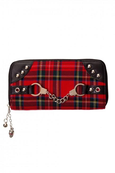 Banned Red Tartan Handcuff Wallet  WBN-1427