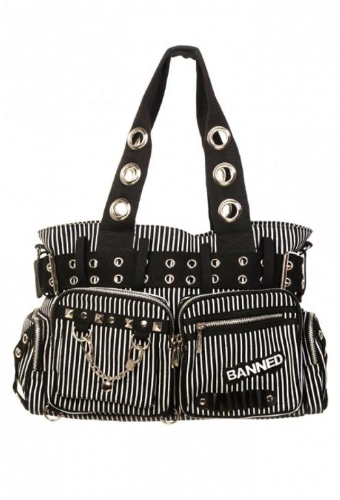 Banned Handcuff Handbag Black / White  BBN-754-BLK-WHT
