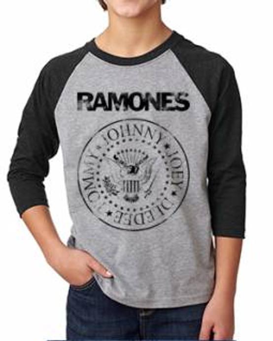 Ramones Distressed Logo Kids Raglan Tee